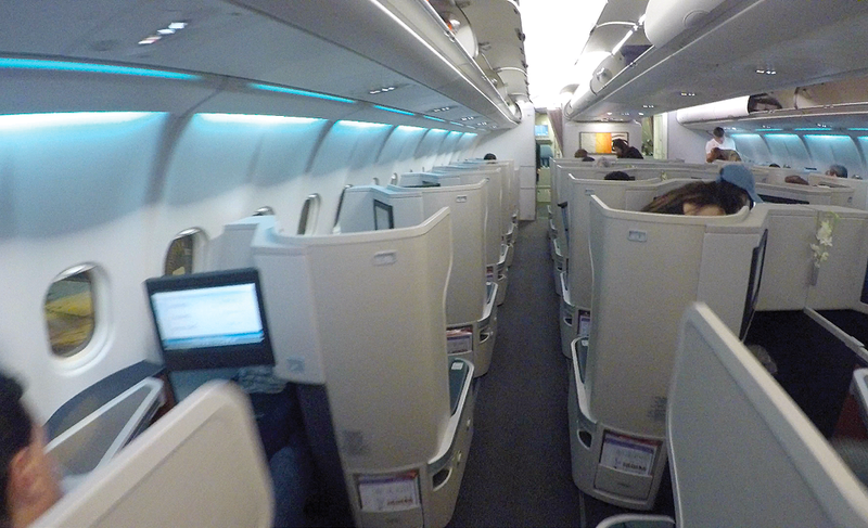 Cathay Pacific Business Class cabin.