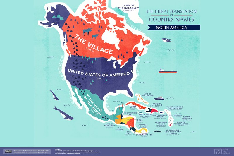 "Much of North America has been influenced by European colonialists, e.g. El Salvador and Costa Rica being derived from ""The Savior"" and ""Rich Coast"" respectively."