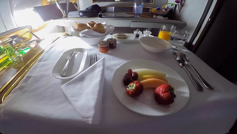 Breakfast before arrival in Dubai - you can order food or drinks at any time during your flight from the A La Carte menu.