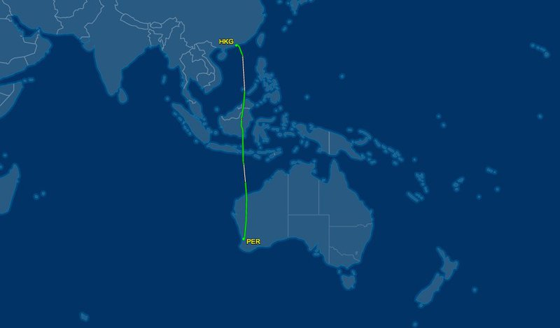 The Hong Kong to Perth flight is only a 6,219 km non-stop flight.