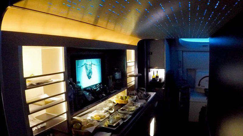 The snack galley aboard the American Airlines Boeing 787-9 Dreamliner.
