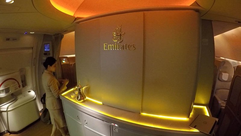 Boarding the Emirates Boeing 777-ER First Class Cabin.