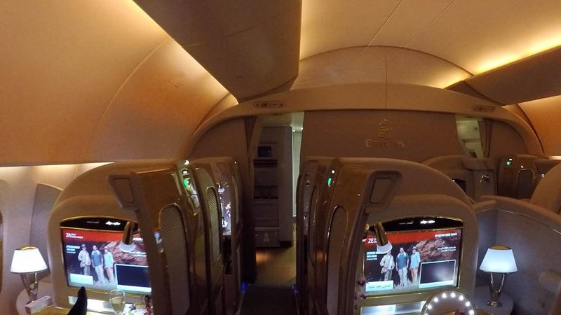 There's only eight seats/suites in Emirates First Class cabin.
