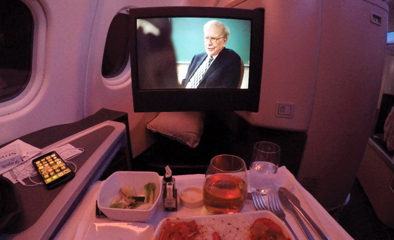 In-flight entertainment and dinner.
