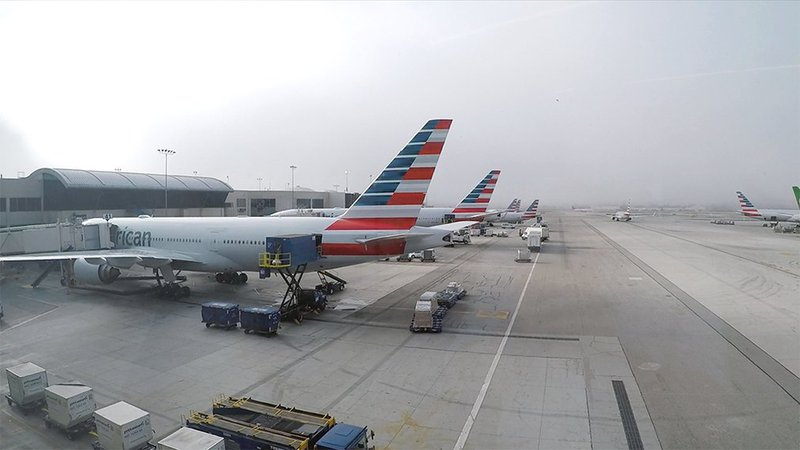 American Airlines planes parked at LAX.