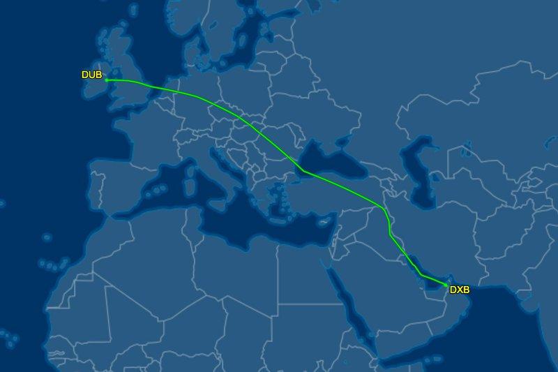 The 6,194 km flight path of EK164 Dublin to Dubai.