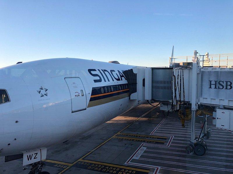 The airbridge onto Singapore Airline's B777 300ER.
