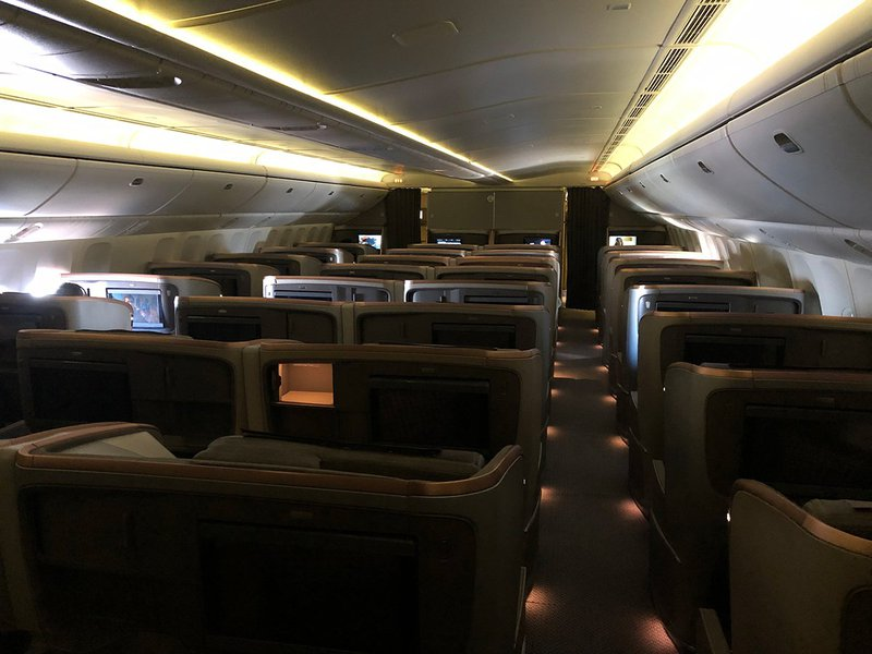 Behind the curtain in Singapore Airlines newest Business Class cabin.