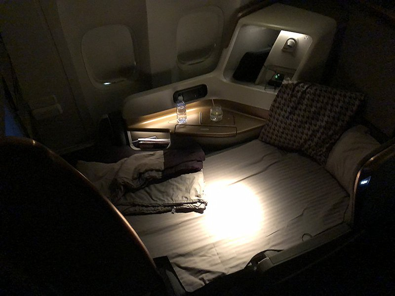 The fully reclined lie flat bed in the new Singapore Airlines Business Class.