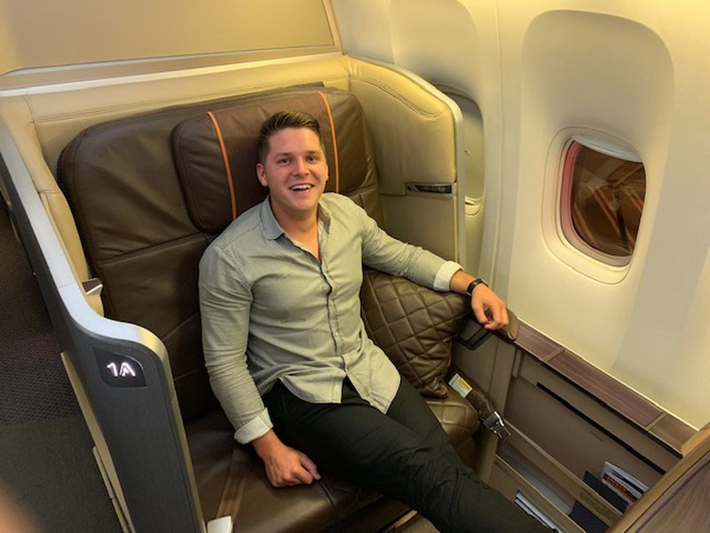 Our Head of Sales & Partnerships Stephen Henderson enjoying some of the company's credit card points at work in the Singapore Airlines First Class cabin