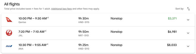 Three Non-Stop Flights Tokyo to Sydney in Business Class.