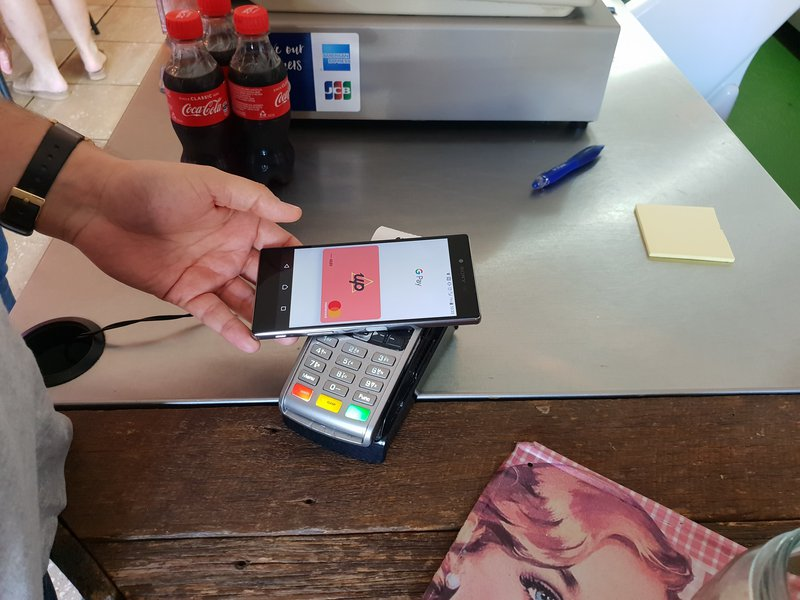 Up Bank digital card in action at a cafe