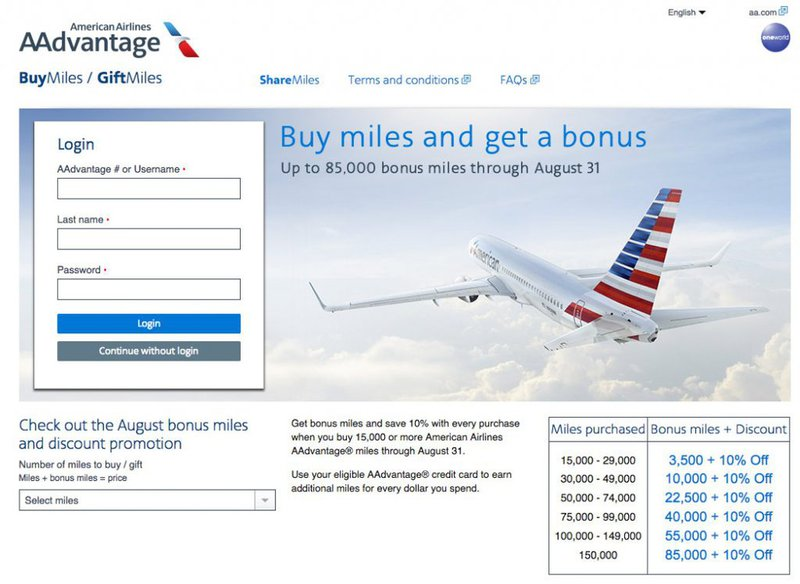 American Airlines run regular promotions to buy points at a discount, offering frequent flyers the opportunity to fly at the pointy end for less.
