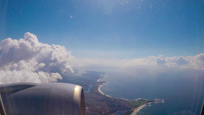 Our pilot was clearly not in the mood to wait around and throttled those huge GE90 engines out of Sydney. As we climbed to altitude above Sydney's northern beaches, my last view of Australia—and land for that matter—was Long Reef Point.
