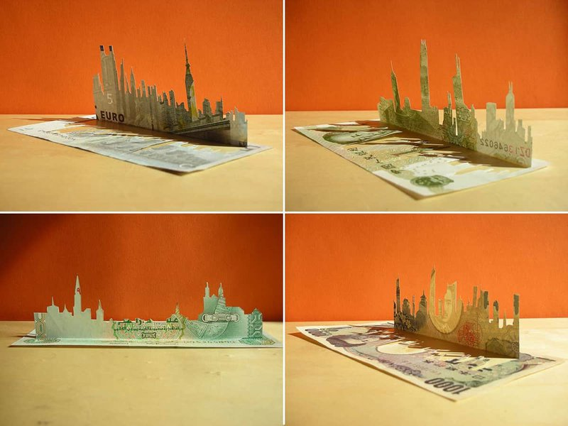 A selection of cityscapes created from banknotes. (Image: Spluch)