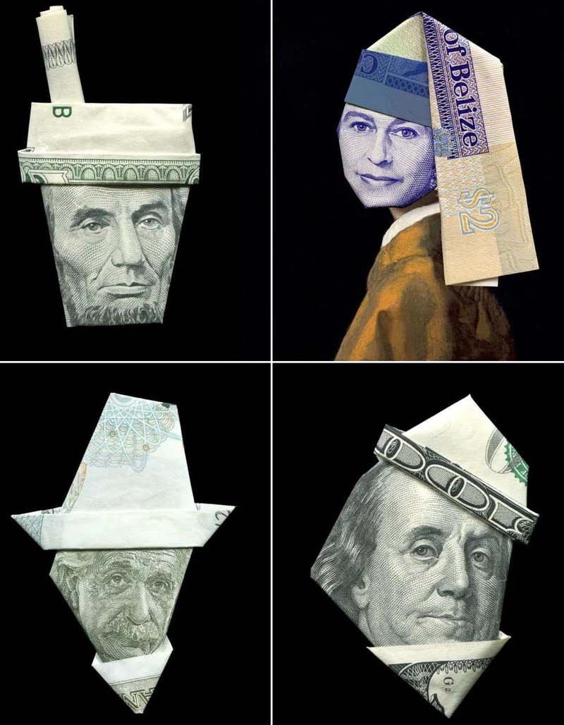 Banknote origami of Abraham Lincoln, The Queen, Albert Einstein, and Benjamin Franklin with hats. (Images: Yosuke Hasegawa)
