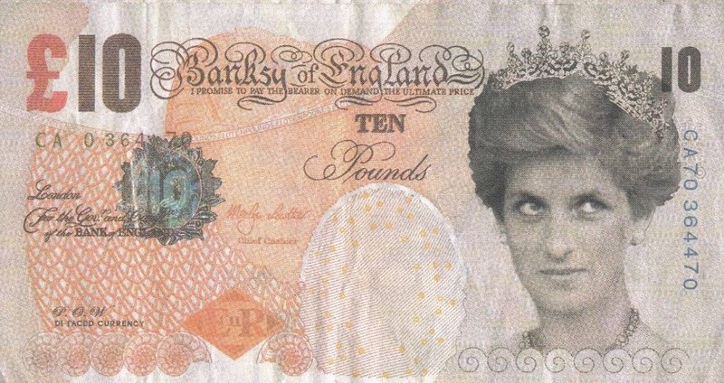 Banksy's version of the Bank of England £10 banknote, replacing the Queen with Princess Diana. (Image: American Numismatic Society)