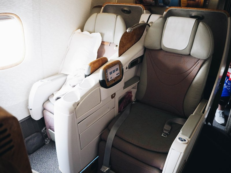 Emirates business class seat.