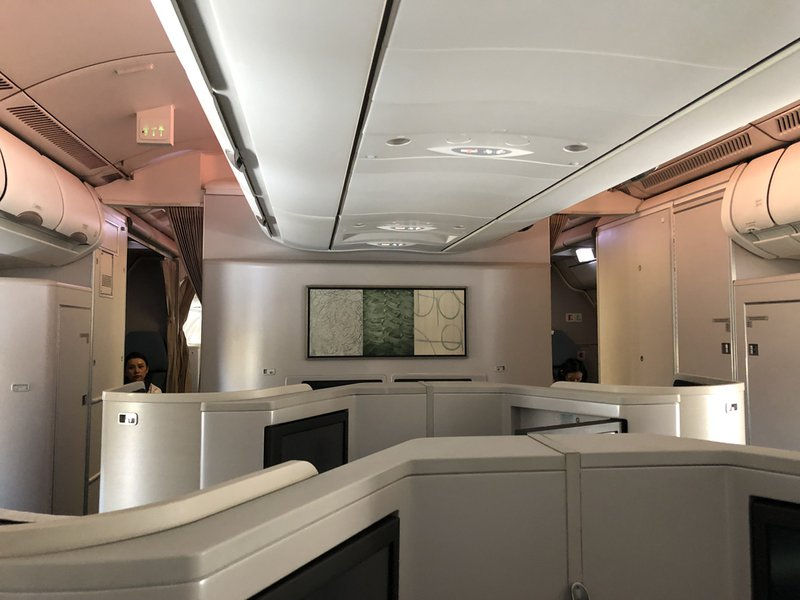 The tried and tested herringbone configuration in the A330 Business Class cabin.