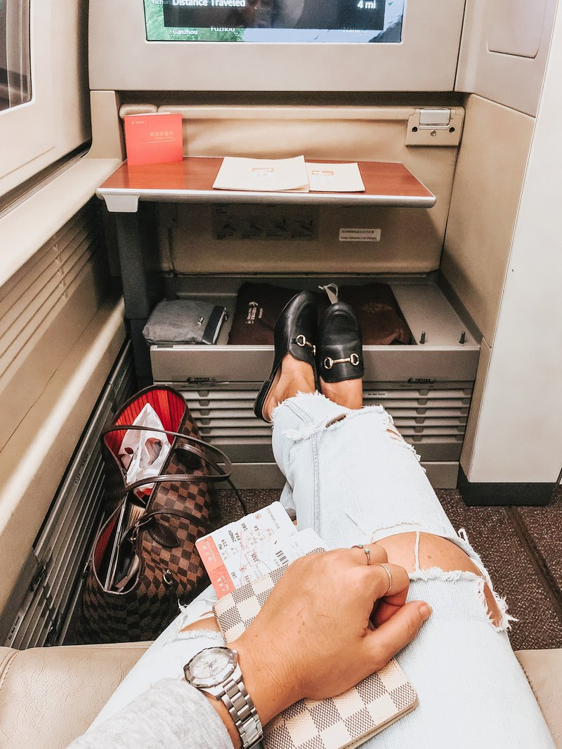 No problem with legroom or storage space in the suite.