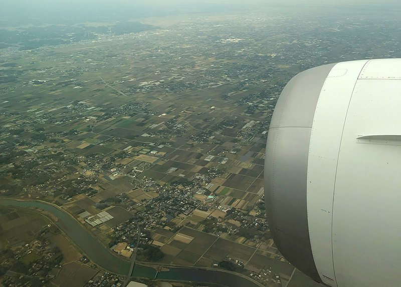 On approach into Narita with the Japanese countryside below. it was a gloomy day in Tokyo.