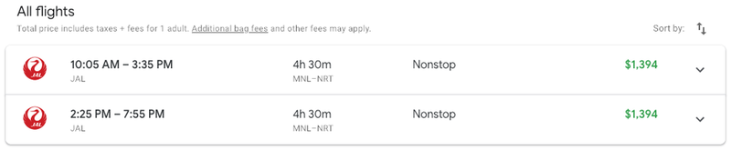 Our flight was selling for $1394 on Google Flights.
