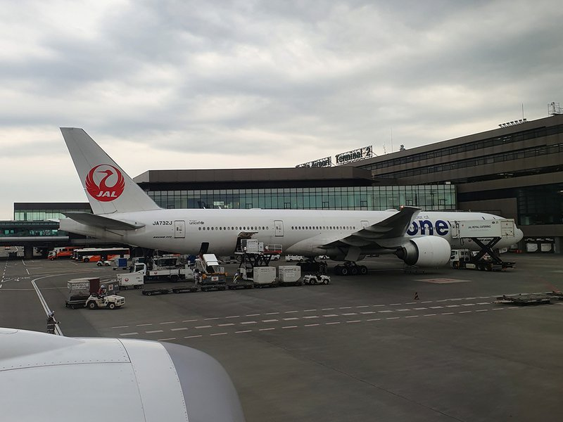 A Japan Airlines B777 on the stand at Narita.