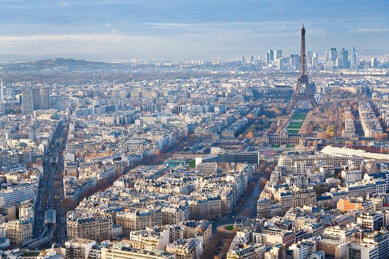 The Eiffel Tower dominates the Parisian skyline.