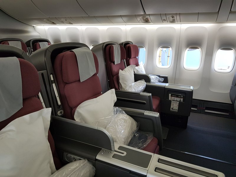 The lower deck Business Class cabin on the Qantas 747.