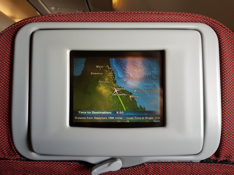 The flight path from Sydney to Manila on a seven inch screen. Enthralling.