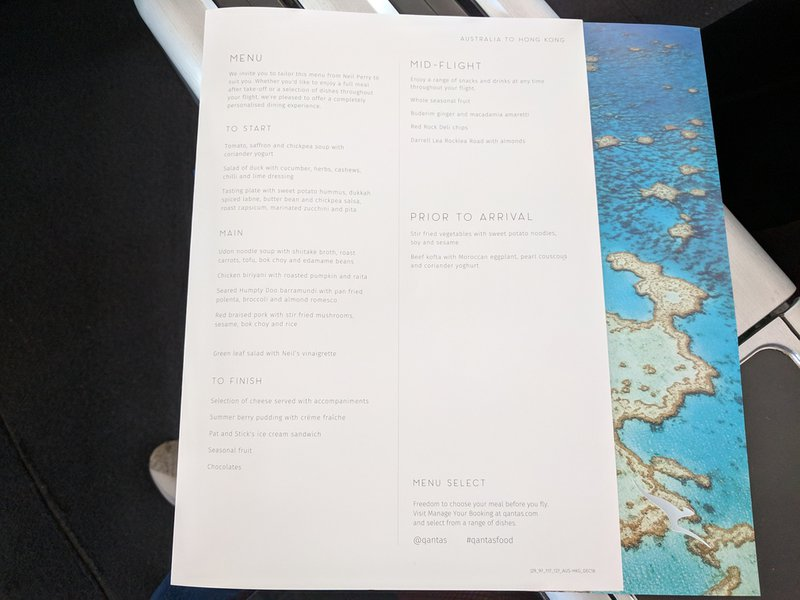 The Business Class menu for Qantas QF127.