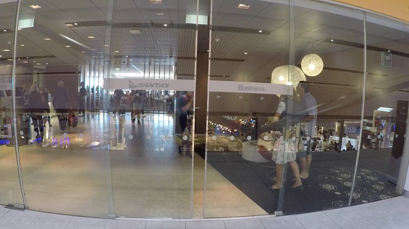 The entrance to the Qantas Business Class Lounge at Sydney International Airport, where I spent some time before flying.