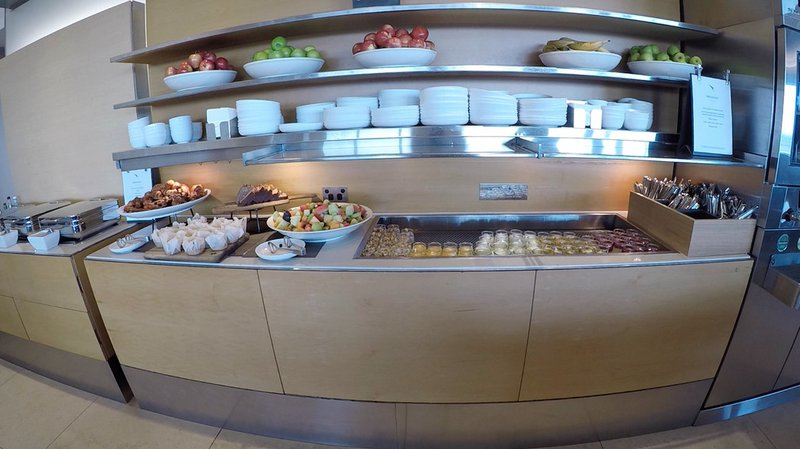 The food and drink selection in the Qantas Business Lounge at Sydney International Airport.