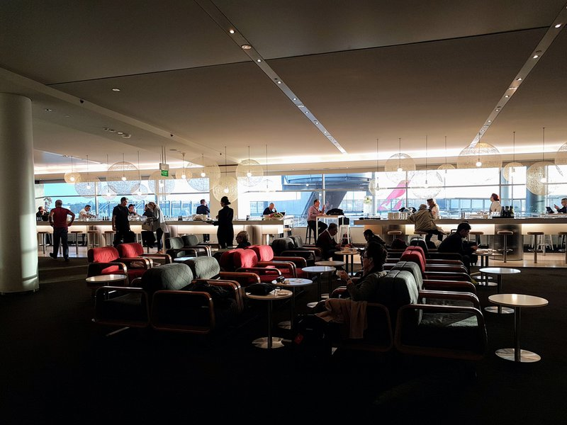 The Qantas Business Lounge at Sydney International Airport provided good views, food, and drinks.