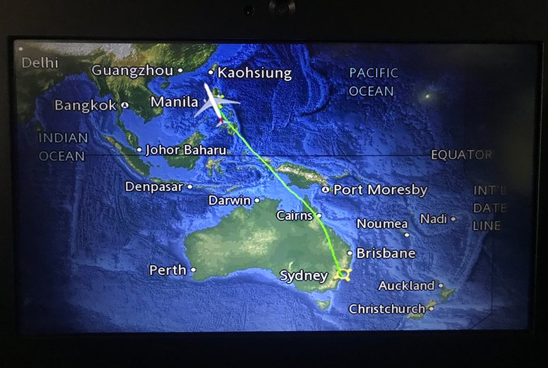 QF19's flight path from Sydney to Manila.