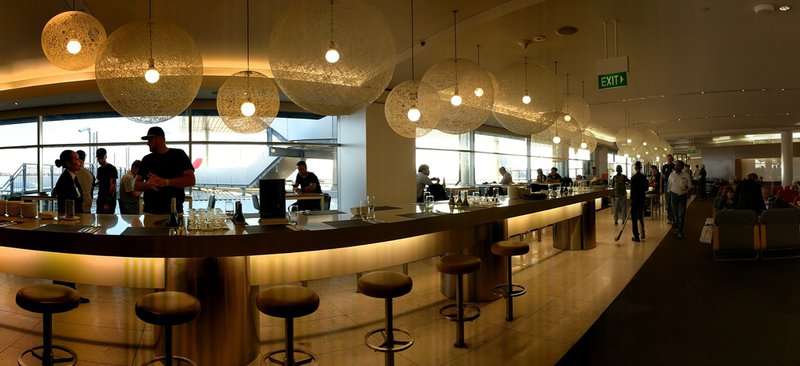The bar in the Qantas Business Lounge at Sydney International Airport.