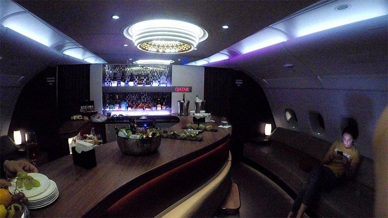 The bar on the Qatar Airways A380.