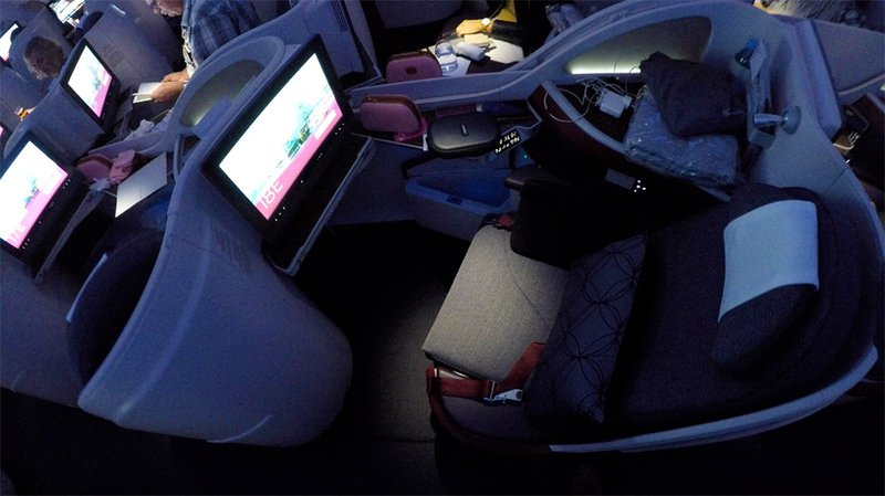 The spacious Qatar A380 Business Class seat, home for the next 14 hours.