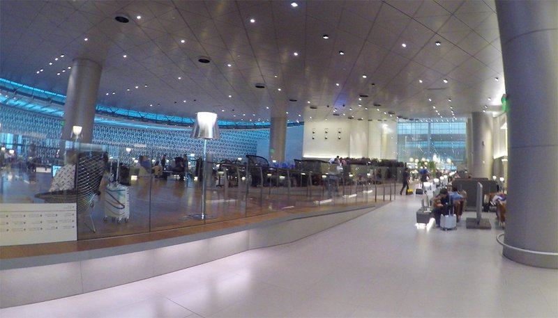 The design is spacious calm, making this a great layover between flights.