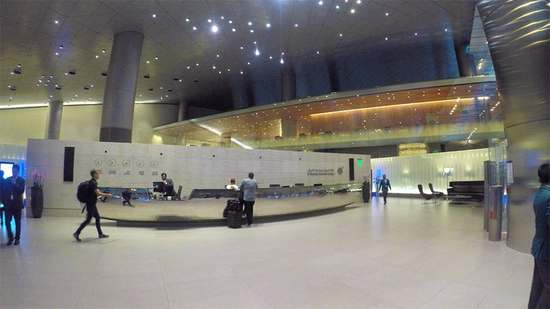 Entering the renowned Al Mourjan Business Class Lounge at Doha Airport.