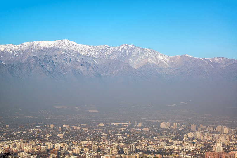 The snowcapped Andes provide a striking backdrop for Santiago.